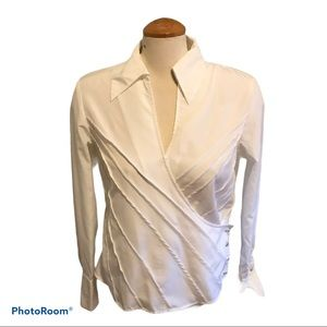 White Wrap Blouse with Crystal Embellishments